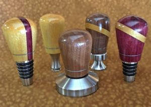 stainless stoppers, bottle openers and coffee tamper