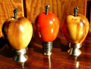 turned apples on stainless stoppers